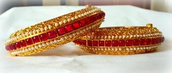 Ethnic RUBY PEARL jadau  GOLDEN openable bangle