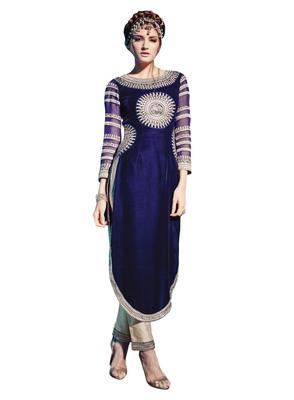 Navy Blue embroidered velvet semi stitched salwar with dupatta