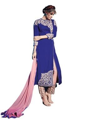 Royal Blue embroidered velvet semi stitched salwar with dupatta