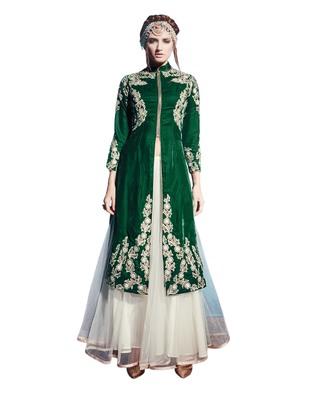 Dark Green embroidered velvet semi stitched salwar with dupatta