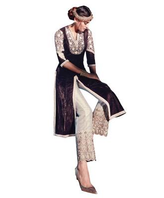 Brown embroidered velvet semi stitched salwar with dupatta