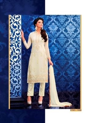 Off White georgette embroidered semi stitched salwar with dupatta