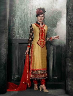 Beige Georgette embroidered semi stitched salwar with dupatta