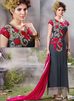 Navy Georgette embroidered semi stitched salwar with dupatta