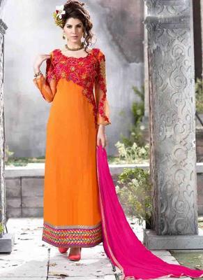 Orange Georgette embroidered semi stitched salwar with dupatta