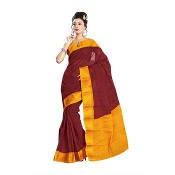 Maroon plain cotton saree