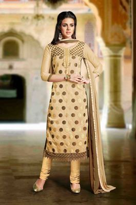 Cream Chanderi embroidered unstitched salwar with dupatta