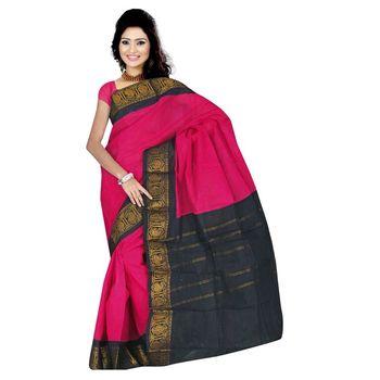 Pink plain cotton saree