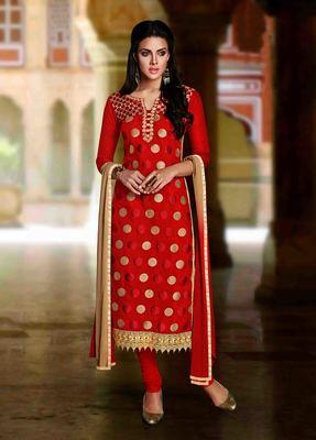 Red Chanderi embroidered unstitched salwar with dupatta