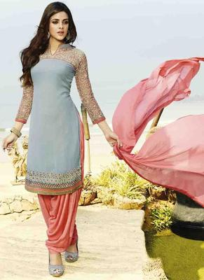 Grey Georgette embroidered unstitched salwar with dupatta