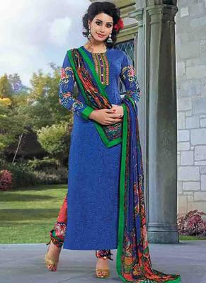 Blue Cotton printed unstitched salwar with dupatta