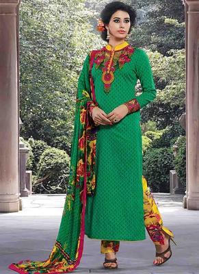 Green Cotton printed unstitched salwar with dupatta