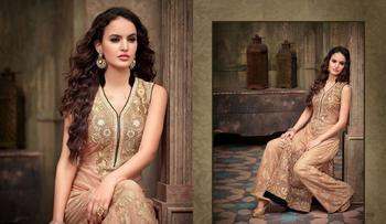 Cream georgette embroidered semi stitched salwar with dupatta