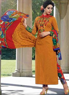 Yellow Cotton printed unstitched salwar with dupatta