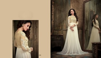 Off White net embroidered semi stitched salwar with dupatta