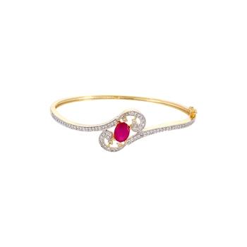 ffinity Curvy Red Stone Studded Bracelet