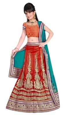 orange Indian Traditional Designer lehenga.