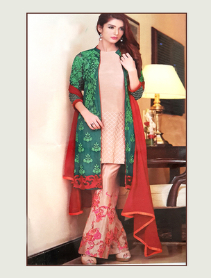 Green georgette embroderied semi stitched salwar with dupatta