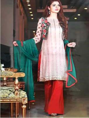 Multy georgette embroderied semi stitched salwar with dupatta