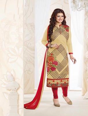 Beige georgette embroderied semi stitched salwar with dupatta