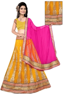 yellow Indian Traditional Designer lehenga.