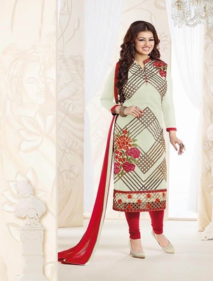 Offwhite georgette embroderied semi stitched salwar with dupatta