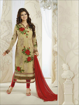 Cream georgette embroderied semi stitched salwar with dupatta