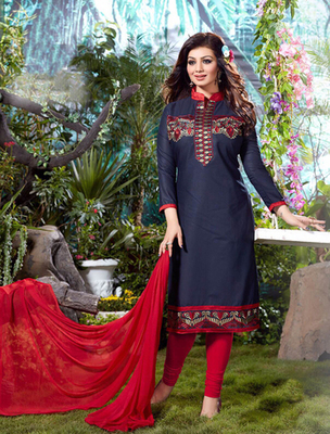 Navy blue and red cotton embroderied semi stitched salwar with dupatta