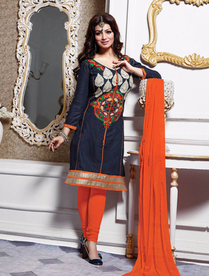 Navy blue and orrange cotton embroderied semi stitched salwar with dupatta