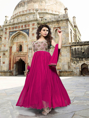 Pink georgette embroderied semi stitched salwar with dupatta