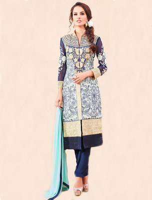 White georgette embroderied semi stitched salwar with dupatta