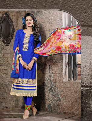 Blue cotton jacquard embroderied semi stitched salwar with dupatta