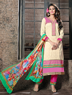 Cream cotton jacquard embroderied semi stitched salwar with dupatta