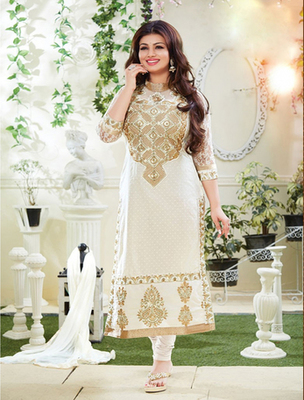 Offwhite cotton embroderied semi stitched salwar with dupatta