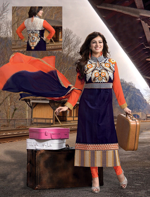 Navyblue cotton embroderied semi stitched salwar with dupatta