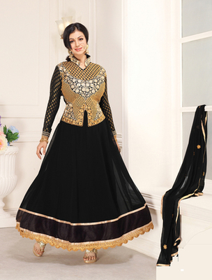 Black pure chiffon  embroderied semi stitched salwar with dupatta