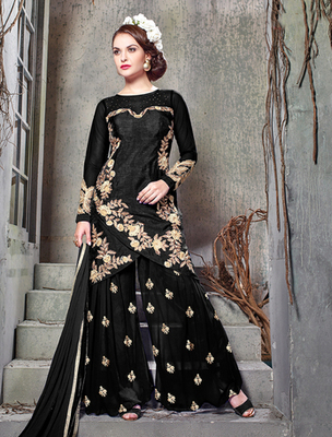 Black banglori silk  embroderied semi stitched salwar with dupatta