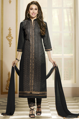 Black cotton embroidered semi stitched salwar