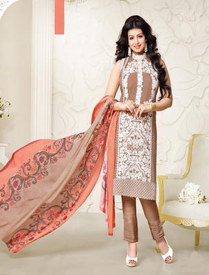 Brown georgette embroderied semi stitched salwar with dupatta