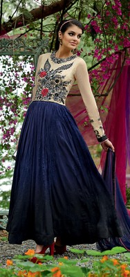 Blue and Cream embroidered Tusser Silk semi stitched salwar with dupatta