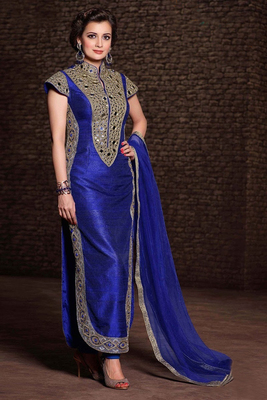 blue and orange faux georgette embroidered unstitched salwar with dupatta