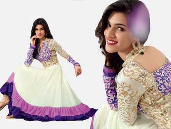 purple and white faux georgette embroidered unstitched salwar with dupatta