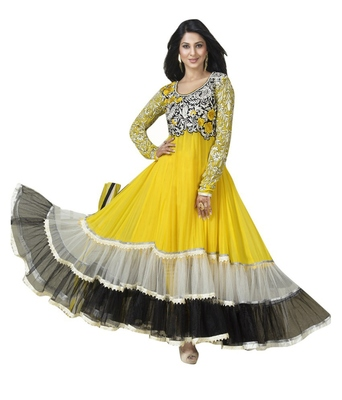 yellow faux georgette embroidered unstitched salwar with dupatta
