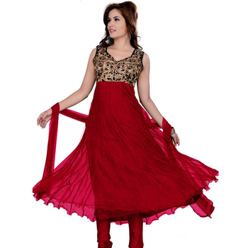 red chanderi cotton embroidered unstitched salwar with dupatta