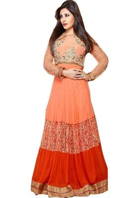 orange faux georgette embroidered unstitched salwar with dupatta