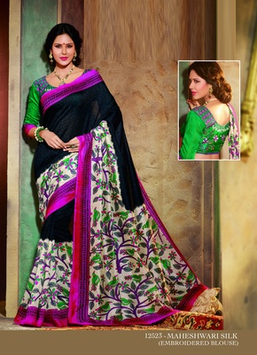Black and Pink printed cotton silk saree with blouse