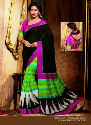 Black and Green printed cotton silk saree with blouse