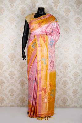 Baby pink pure silk weaved saree in multi colour border & orange pallu-SR5356