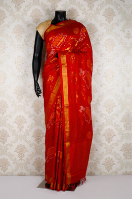 Red pure silk zari weaved saree in golden border & red pallu-SR5357