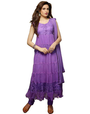 purpal net hand woven semi stitched salwar with dupatta